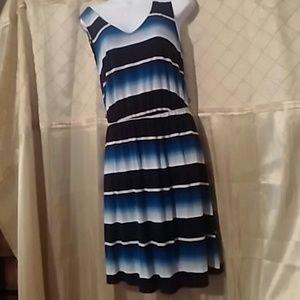 Size medium Merona blue white striped dress  OFFER